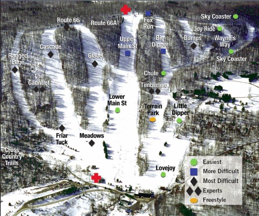 Hunt Hollow Ski Club trail map