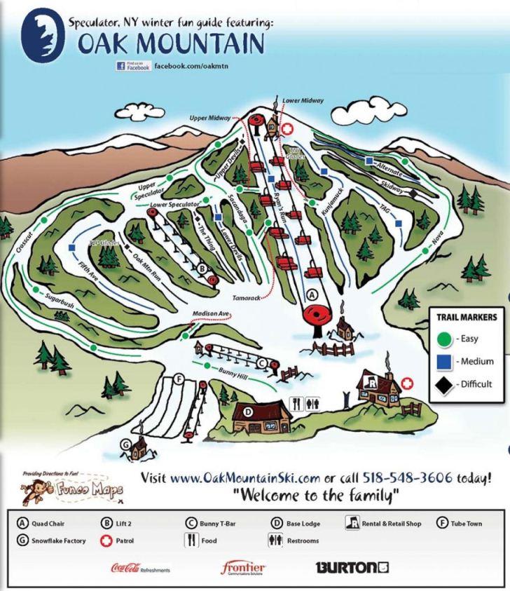 Oak Mountain Ski Center trail map