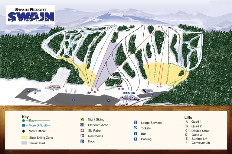 Swain Ski and Snowboard Center trail map
