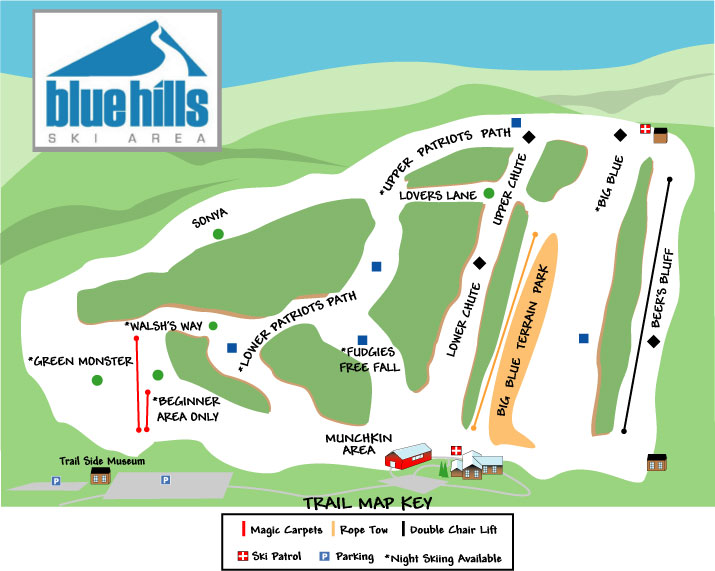 Blue Hills Ski Area trail map