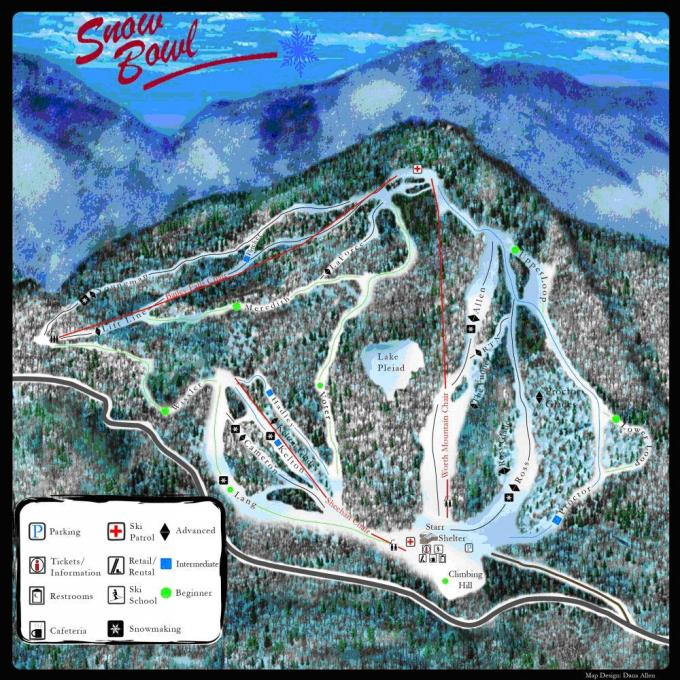 Middlebury College Snow Bowl trail map