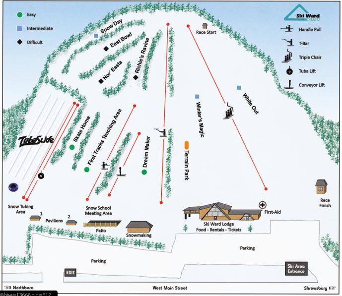 Ski Ward Hill trail map